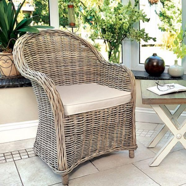 Grey Wash Rattan Armchair With Cream Cushion