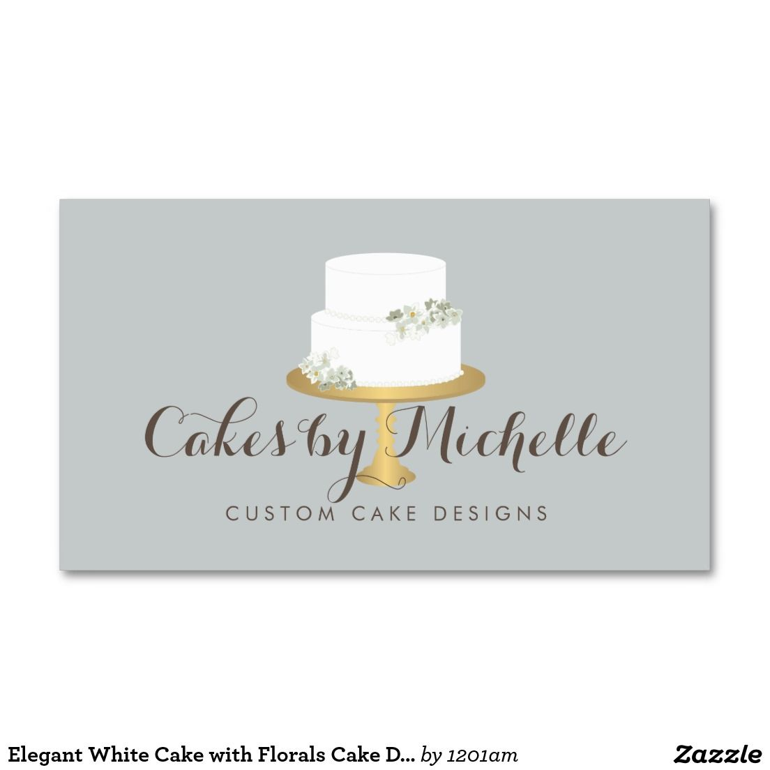 Elegant white cake with florals cake decorating business card card elegant white cake with florals cake decorating business card reheart Image collections