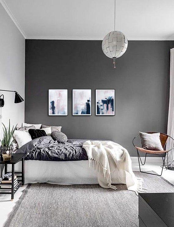 Pink Navy Blue Triptych Wall Art Set Of 3 Prints Digital Etsy Gray Bedroom Walls Bedroom Interior Woman Bedroom