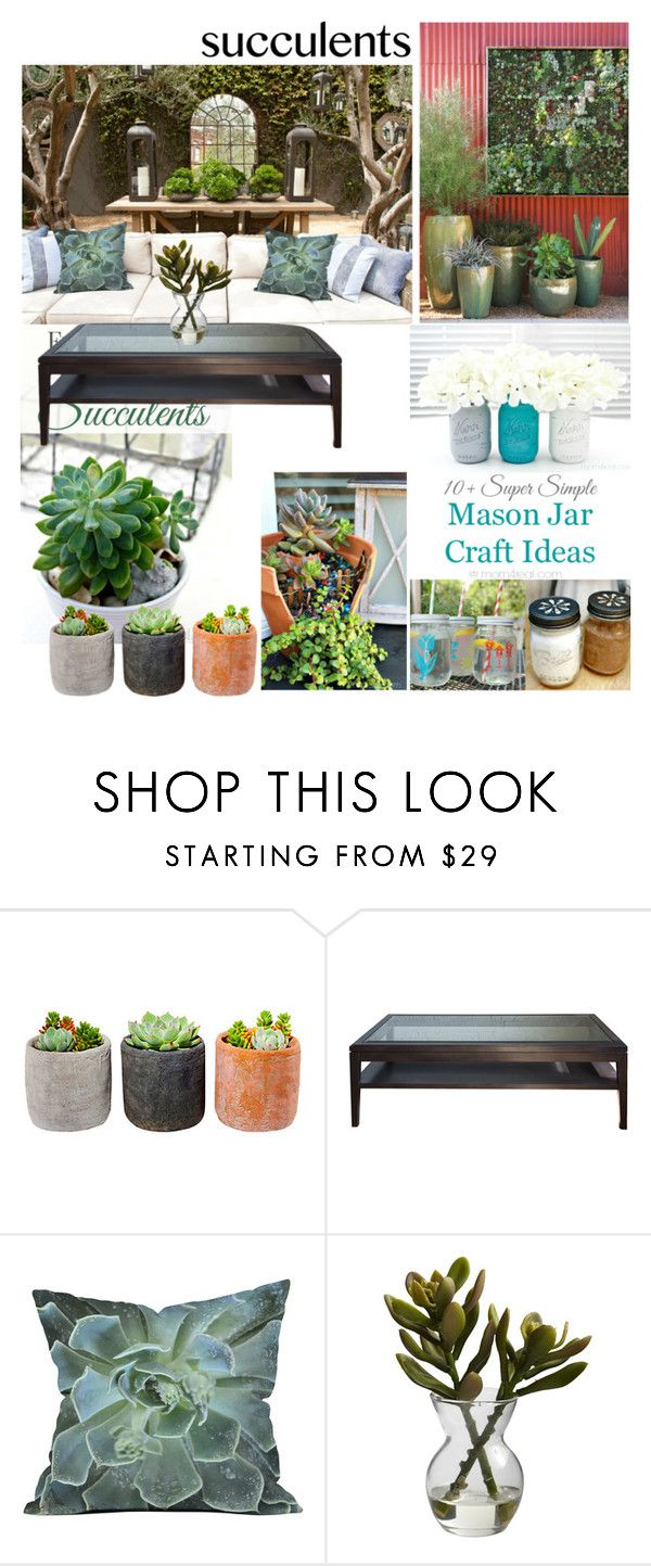 """Decorate With Succulents"" by snje2105 ❤ liked on Polyvore featuring interior, interiors, interior design, home, home decor, interior decorating, Shop Succulents, Maxine Snider, Dot & Bo and Nearly Natural"