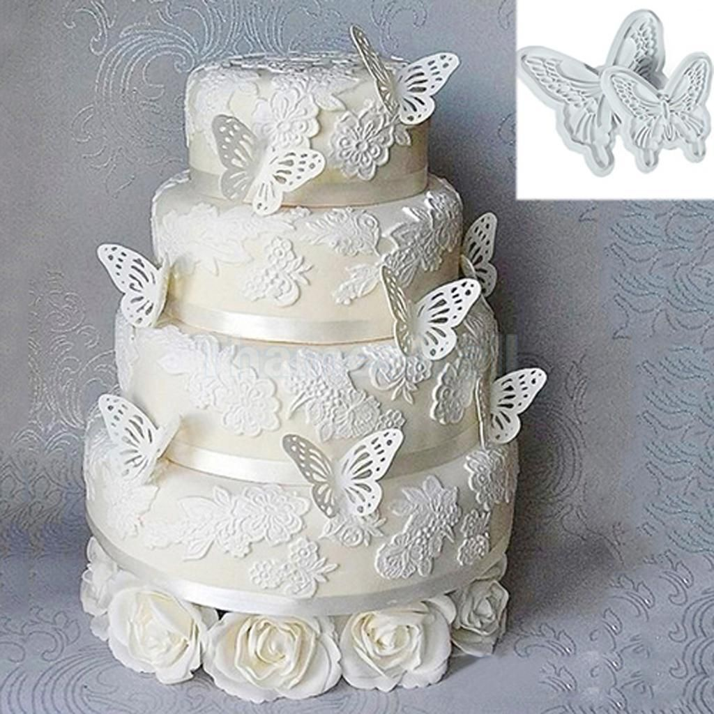 2Pcs Butterfly Cake Fondant Decorating Sugarcraft Cookie Plunger ...