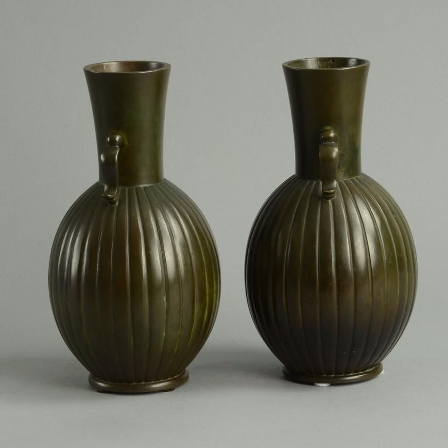 Pair of bronze handled vases by Just Andersen for GAB A1437 and B3434 - Freeforms