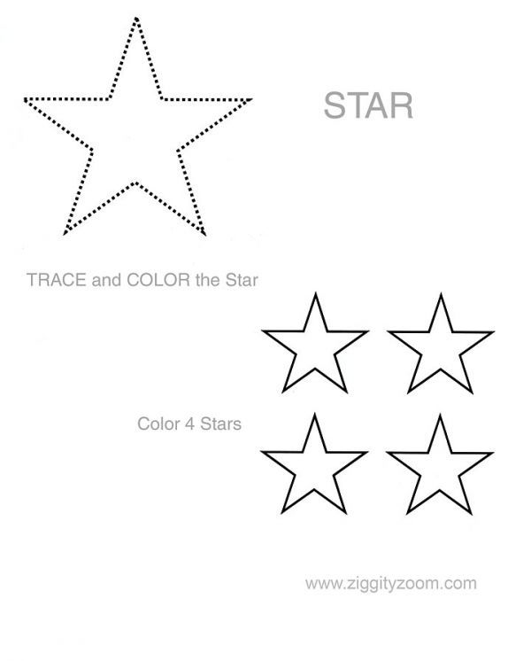 Shapes worksheet Star – Preschool Shape Worksheets