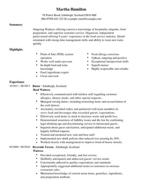 Waitress CV Example For Restaurant Bar