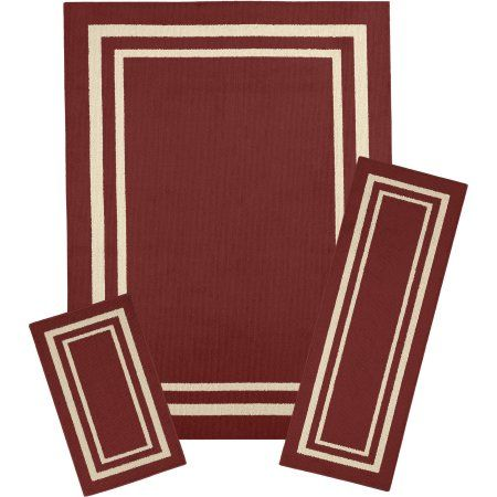 Mainstays Frame Border 3-Piece Area Rug Set Available In Multiple Colors, Red