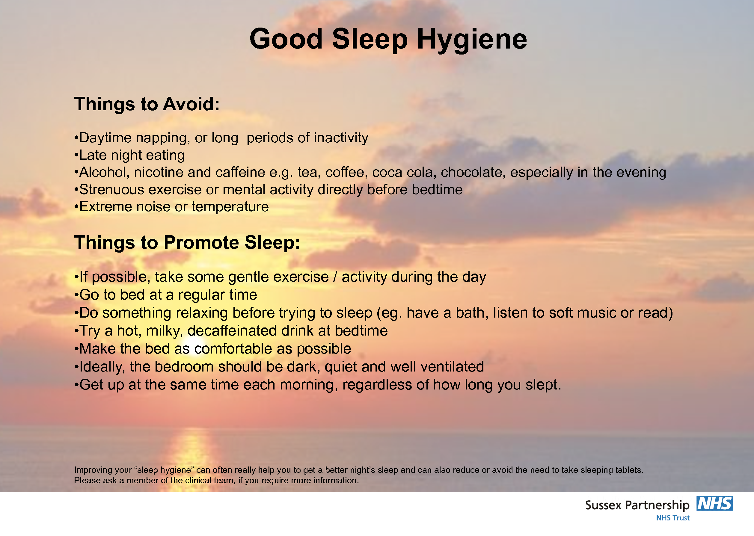 Free Printable Good Sleep Hygiene Good Sleep Hygiene Things To