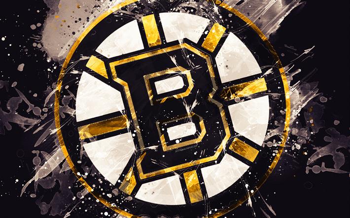 Download Wallpapers Boston Bruins 4k Grunge Art American Hockey Club Logo Black Background Creative Art Emblem Nhl Boston Massachusetts Usa Hockey Boston Bruins Wallpaper Boston Bruins Logo Boston Bruins