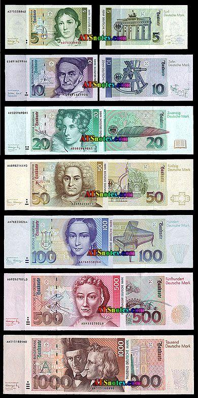 german money 10 20 50 100 200 500 1 000 mark world