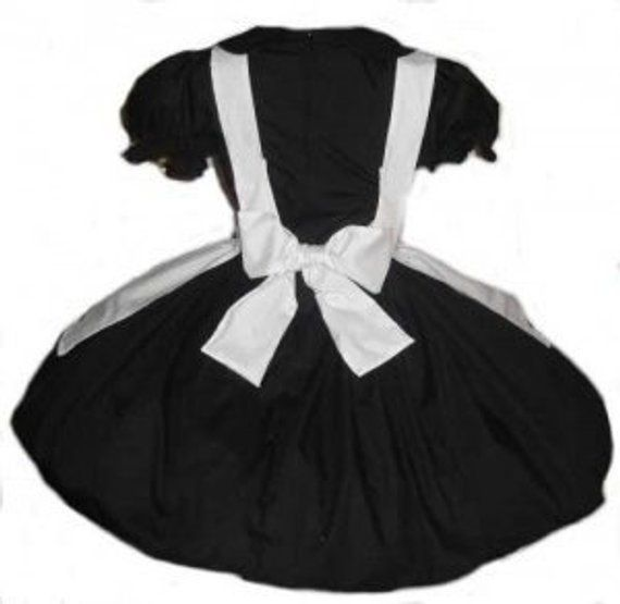 6aed4c97bf6 Goth Nun Dress Gothic Lolita Cosplay Black Dress White Apron Womens  Halloween Costume Custom Size in