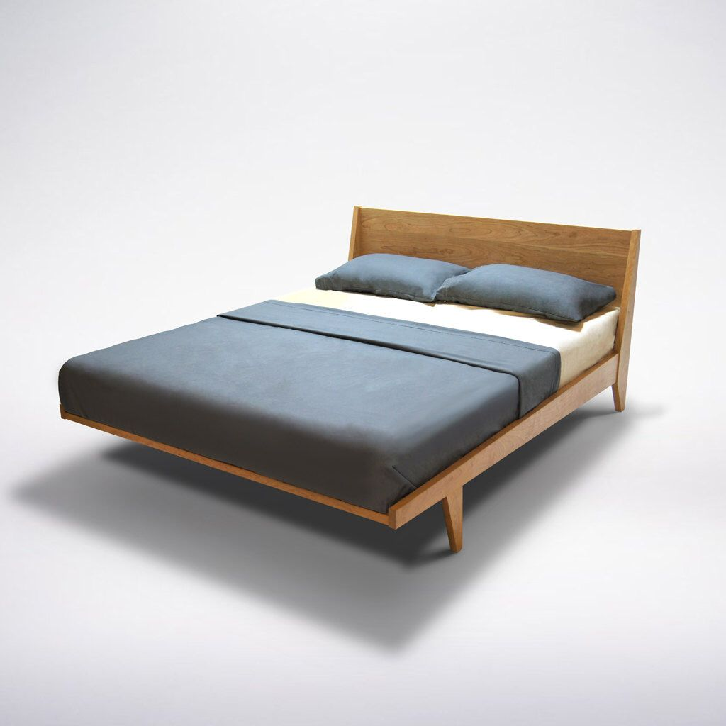 King platform bed cherry - Modern Platform Bed Cherry Mid Century Modern Danish Solid Wood Organic Finish Twin Full Double Queen King