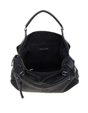 Enlarge River Island Black Double Zip Slouch Bag