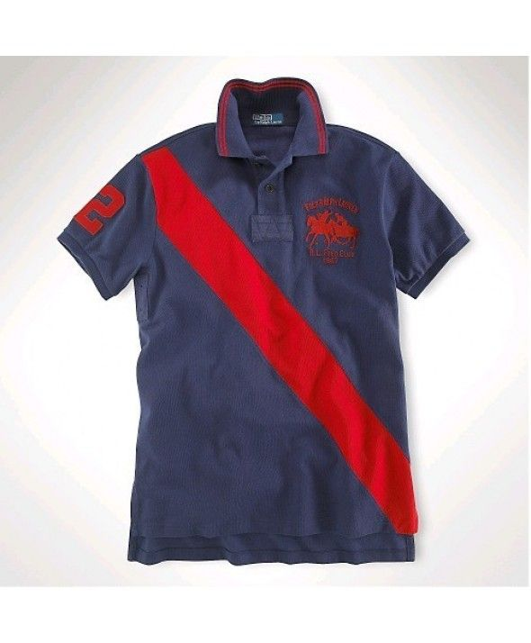 Ralph Lauren Classic-Fit Dual Match Shirt In Blue Red ,#polo shirts,