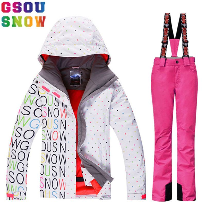 f4d5bd491a GSOU SNOW Brand Ski Suit Women Winter Ski Jacket Pants Waterproof Snowboard  Jacket Pants Snow Suit