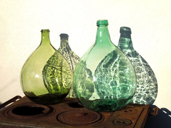 15L Large DEMI JOHN Aqua Green Glass Bottle, French Vintage, Dame - pose pave de verre exterieur