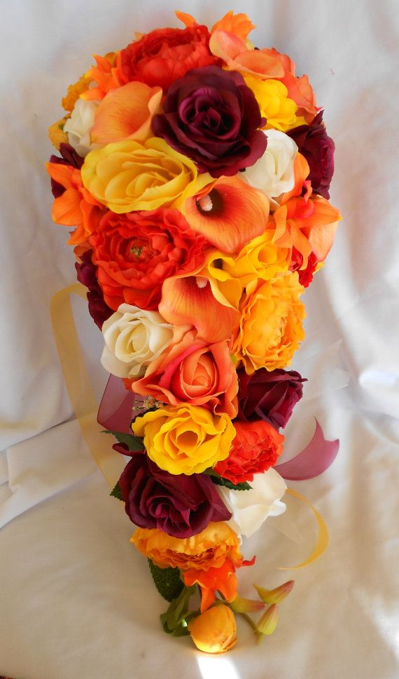 Cascading Bridal Bouquet Orange Yellow By Victoriasilkdesigns