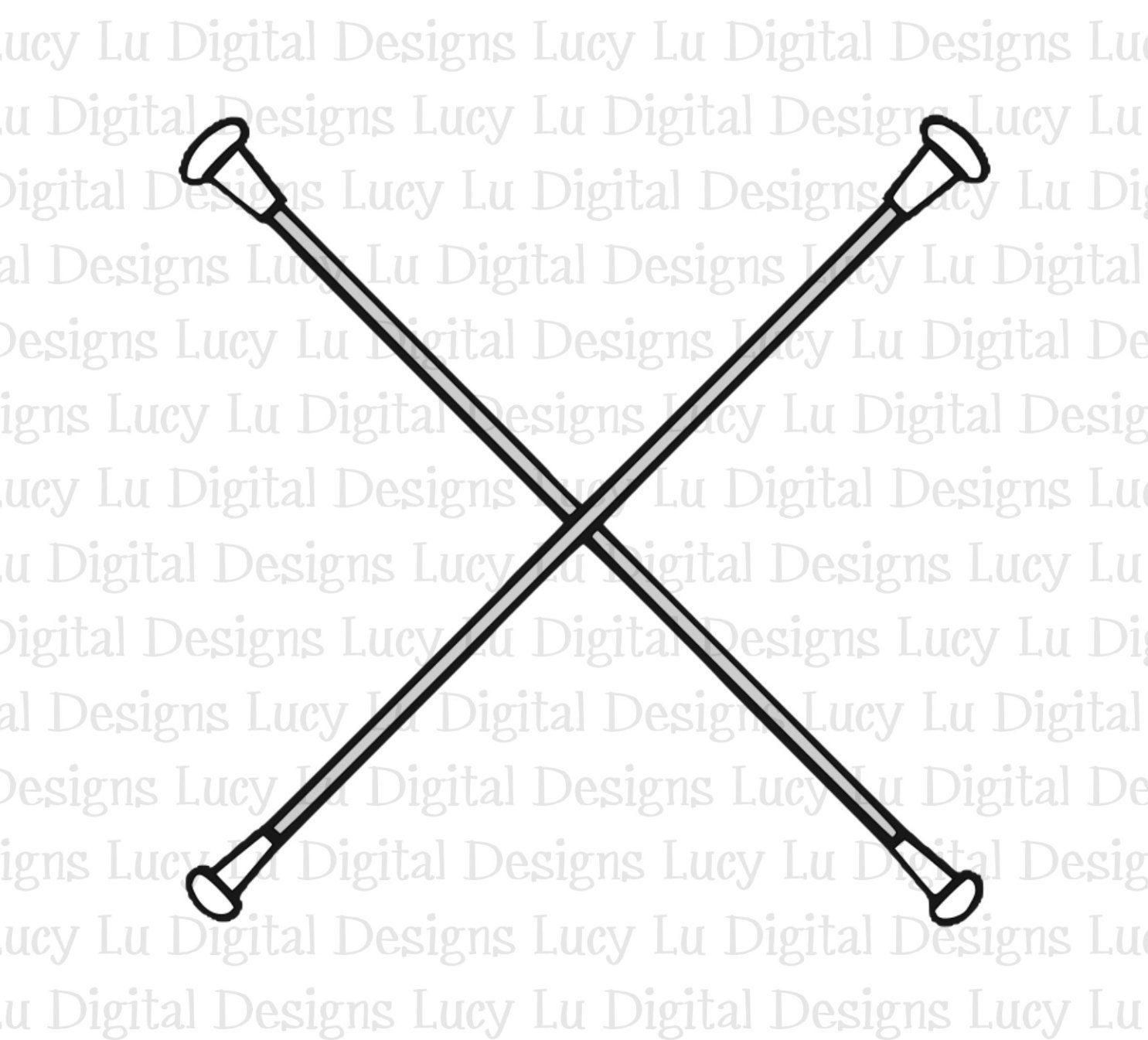 Batons Crossed Digital Cut Files Sublimation Svg Dxf