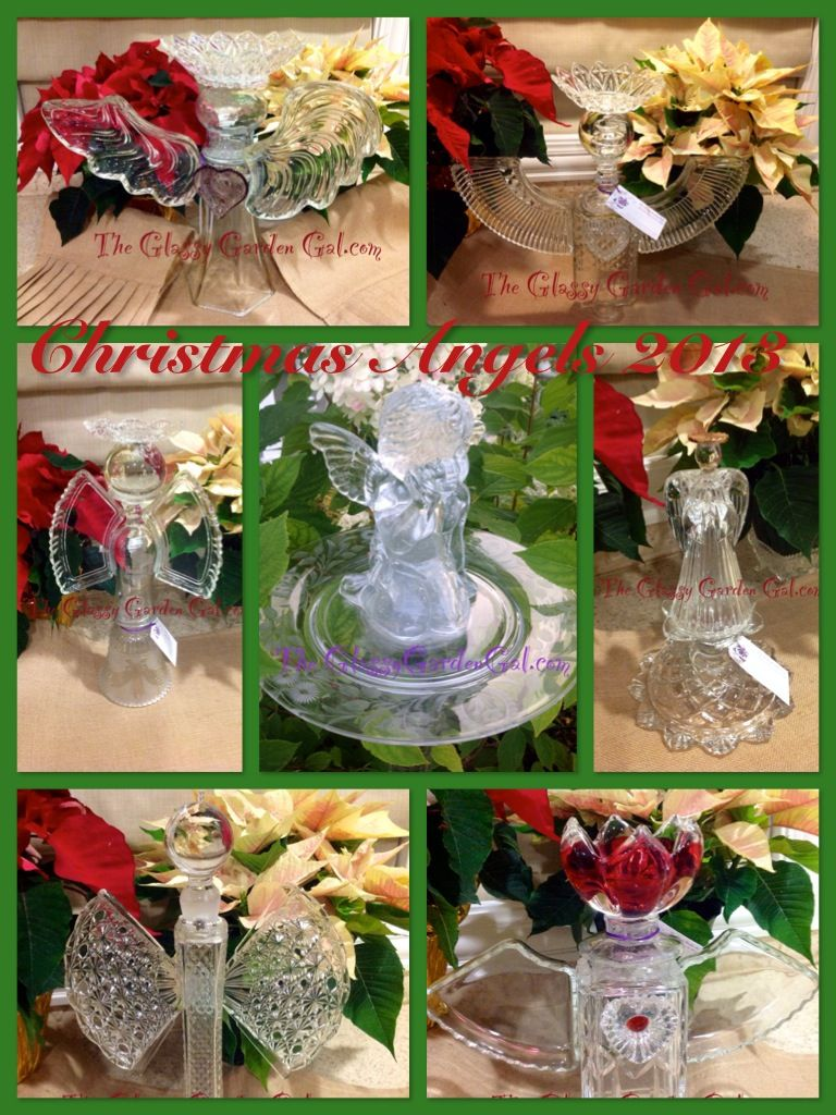 Glass Angels, Garden Totem, Glass Garden Art, Yard Art, Repurposed Recycled  Up