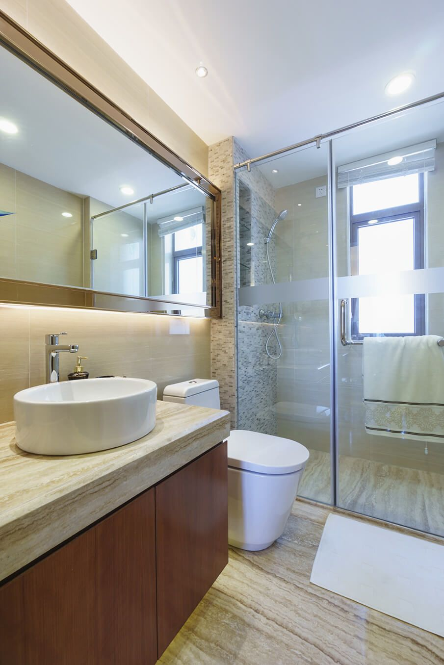 Cherry Wood Bathroom Vanity With Beige Marble Top  Bathroom Ideas Alluring Top Bathroom Designs Inspiration Design
