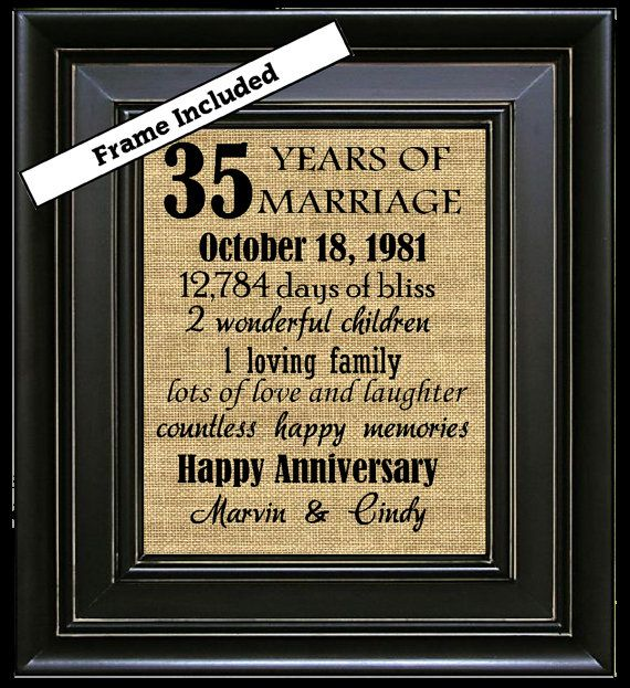 35th Wedding Anniversary Gift.Framed Personalized 35th Anniversary Gift 35th Anniversary