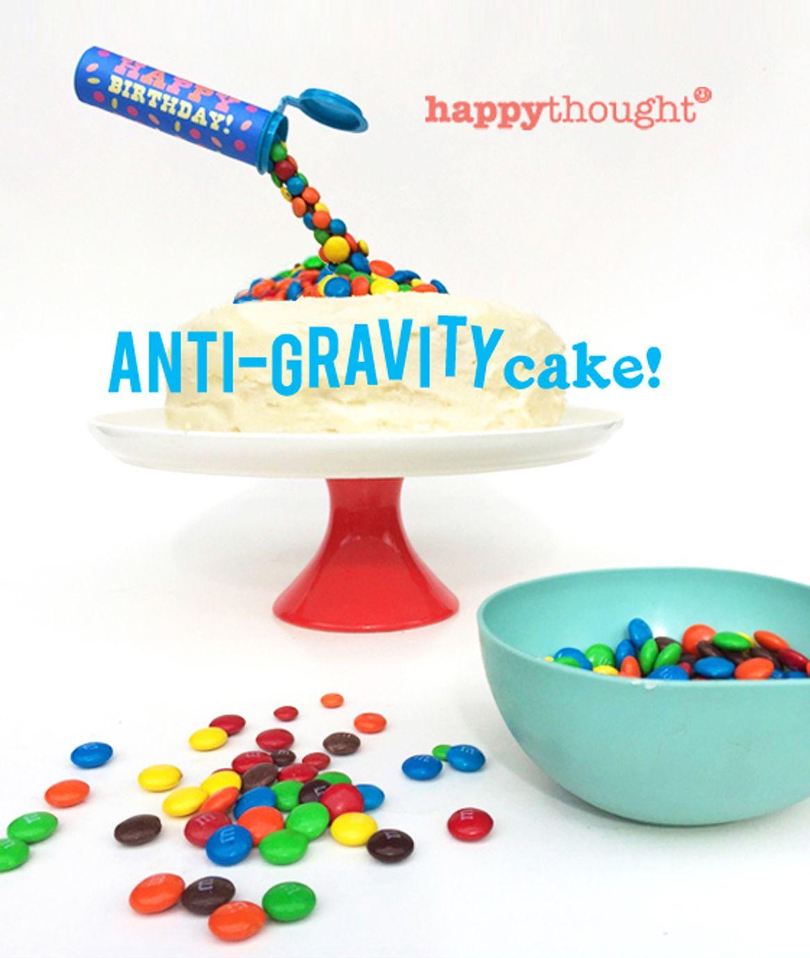 Easy and fun birthday cake ideas: Make an Anti-Gravity M&M cake! #birthdaycakes #bakingideas https://happythought.co.uk/craft/birthday-cake-ideas