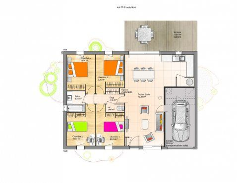 Plan De Maison Plein Pied Gratuit 3 Chambres plan maison - plan maison architecte gratuit