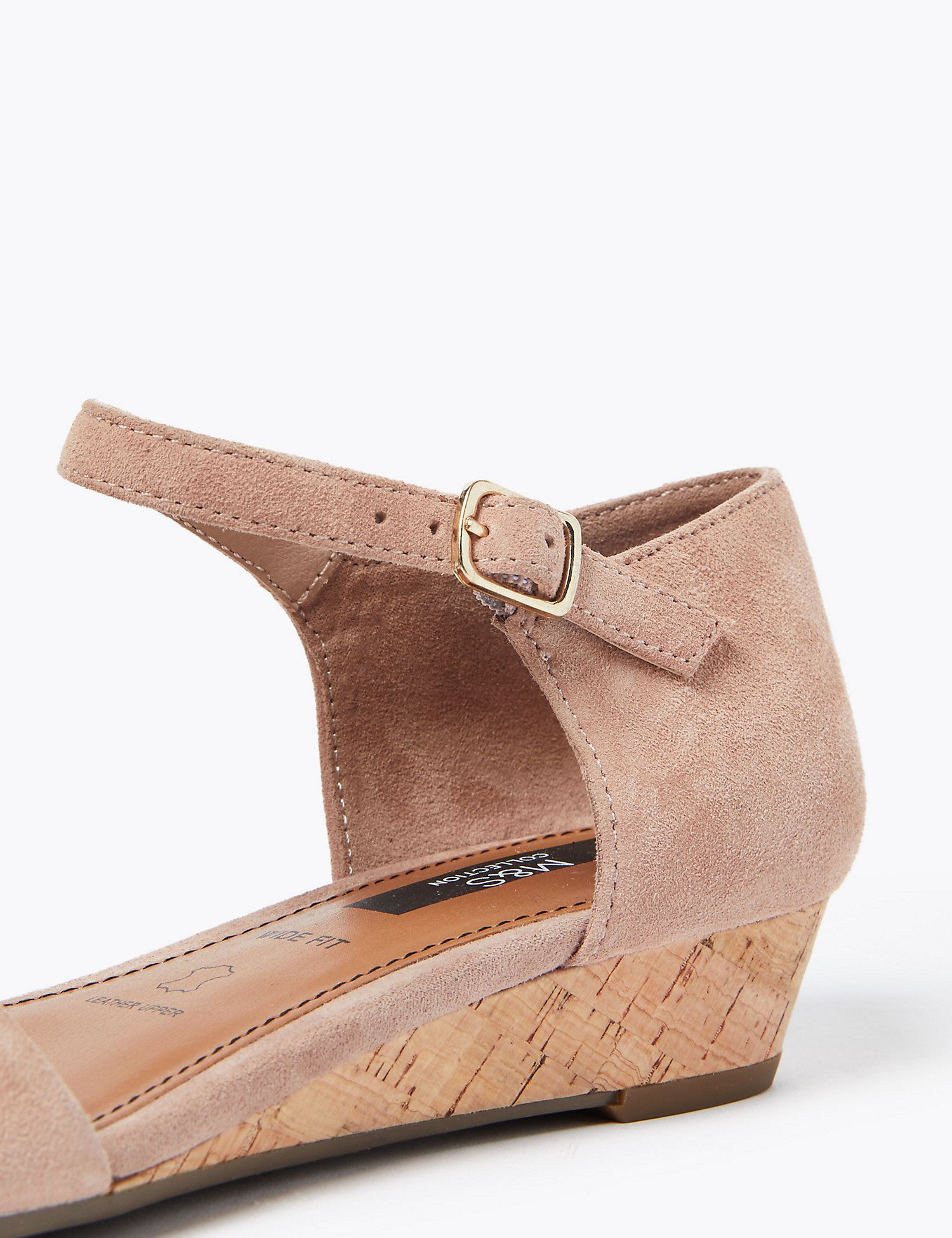 Wide Fit Suede Wedge Sandals | M\u0026S