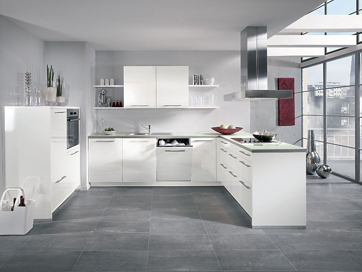 alnocharme hochglanz weis   Küchen in u form, Weisse küche ...