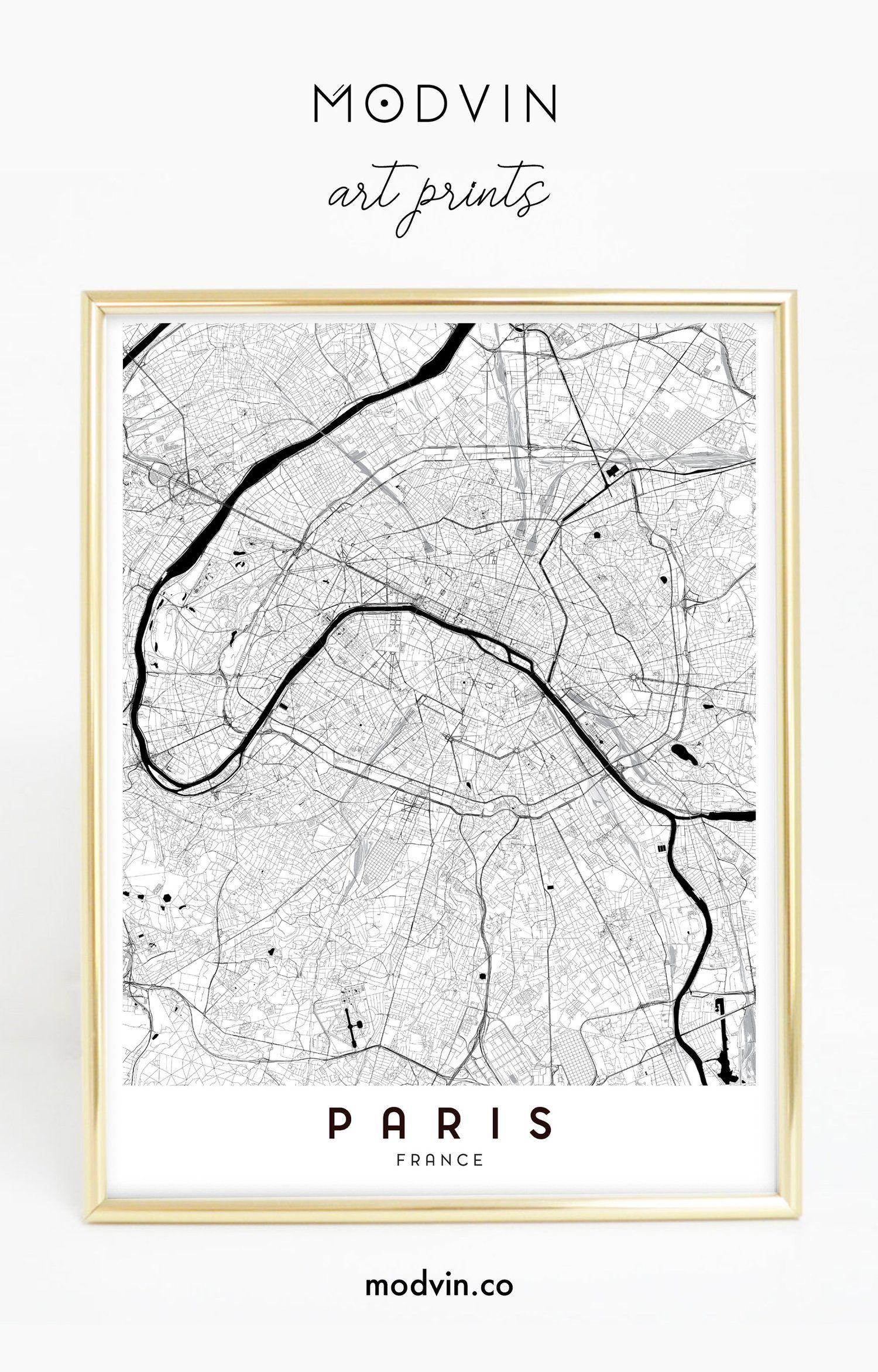 Paris City Map Print Watercolor Art Print Wall Art France Paris Street Map Love