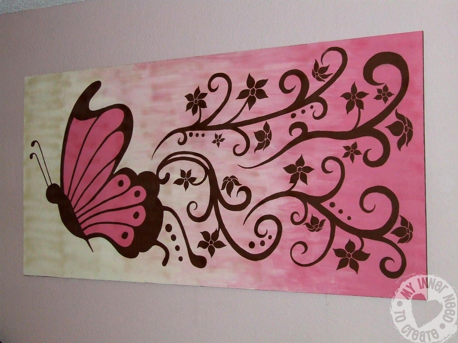 My Inner Need to Create...: Brown and Pink Butterfly and Flower ... for Butterfly Painting Designs  174mzq