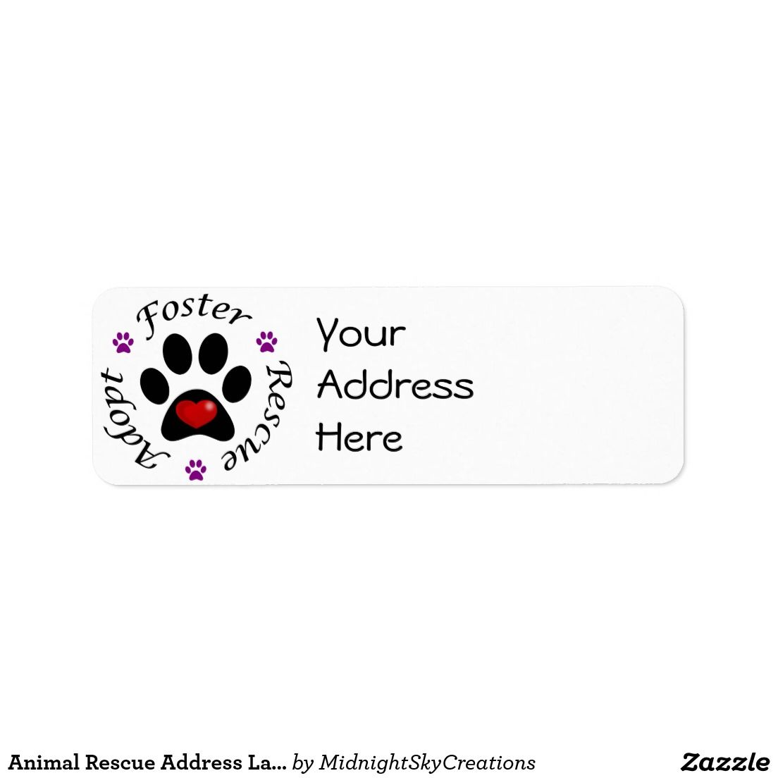 Animal Rescue Address Labels These Feature A Paw Print With Red Heart Inside Promotes The Words Adopt