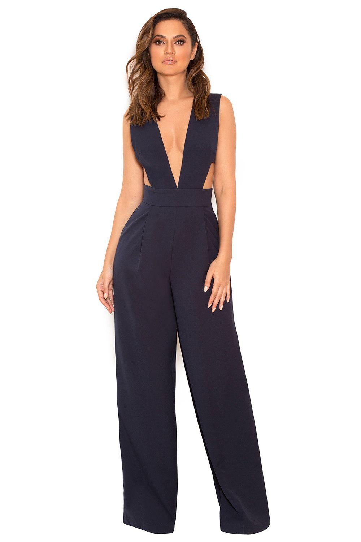 21736c0cbb2d3b Clothing : Jumpsuits : 'Lasalle' Navy Cut Out Jumpsuit | outfits ...