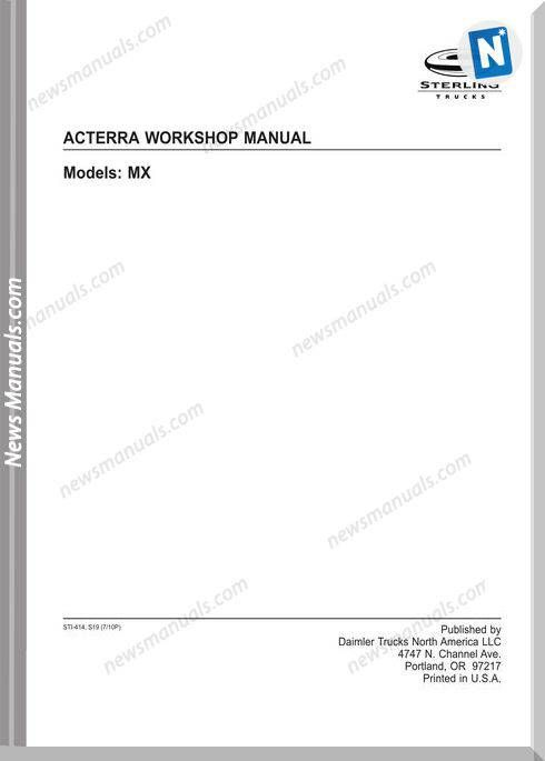 Freightliner Sterling Acterra Workshop Manual Freightliner Electrical Diagram Manual