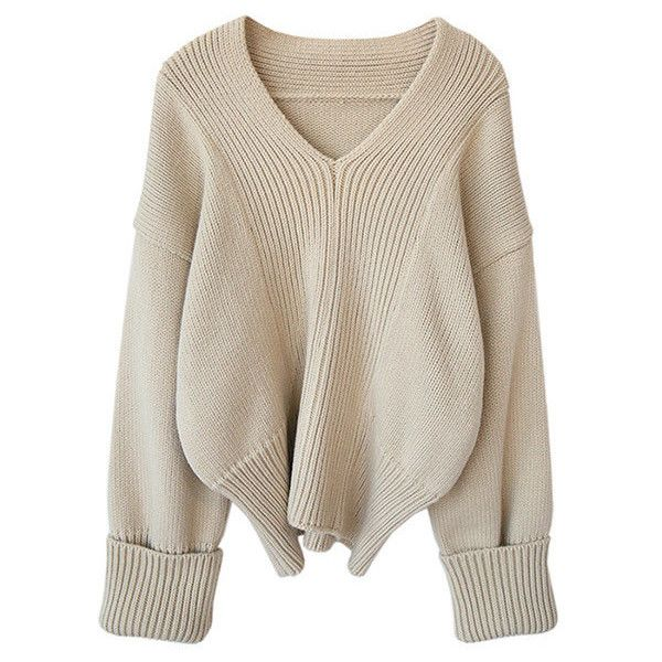 5f29b63895a4 Cream Knitted Cropped Sweater with Oversized Sleeves ( 77) ❤ liked ...