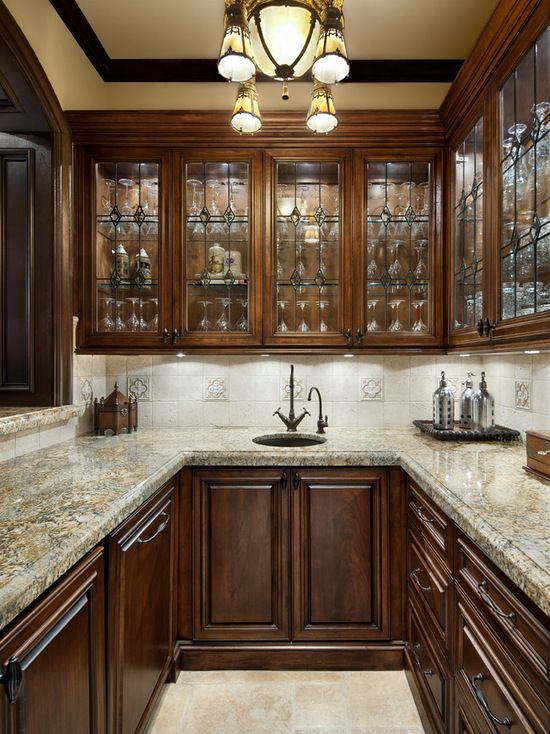 Elegant U Shaped Home Bar Photo In Houston With An Undermount Sink Glass Front Cabinets Dark