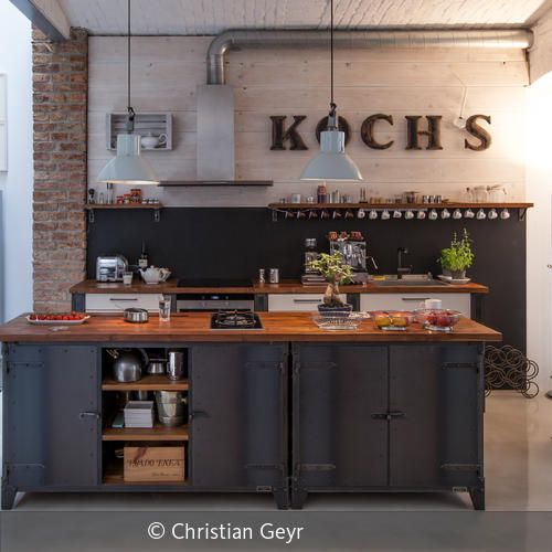 k cheninsel industrial kitchen k che k chen m bel und. Black Bedroom Furniture Sets. Home Design Ideas