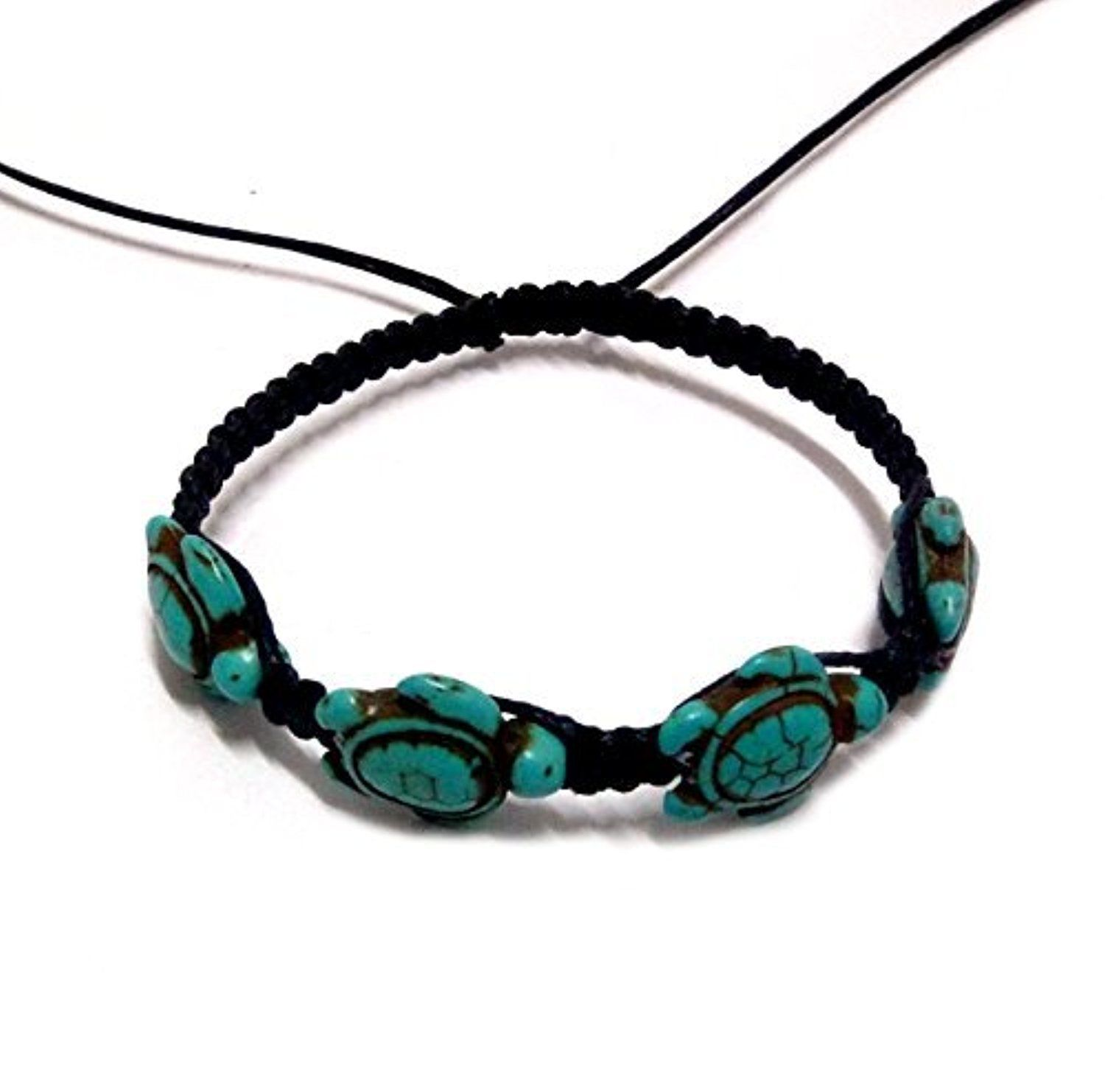 sea by bracelet hawaiian turtles hemp turquoise with turtle pin black