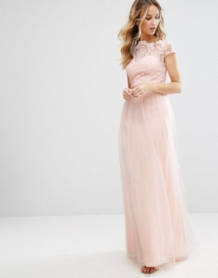 5e40f67514d 73 GBP ASOS - Chi Chi London Premium Lace Maxi Dress With Tulle Skirt And Cap  Sleeve