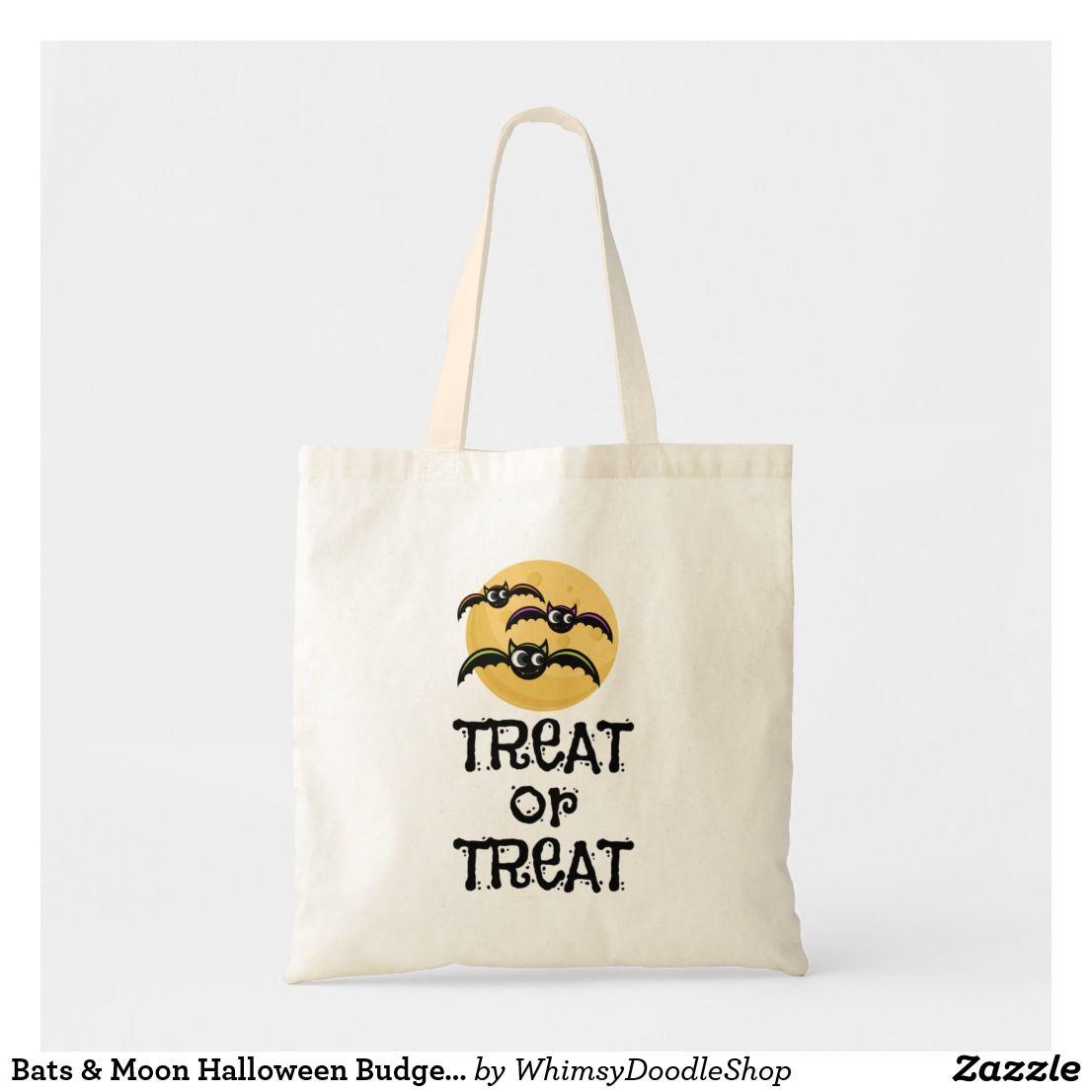 Bats moon halloween budget tote halloween tote bag