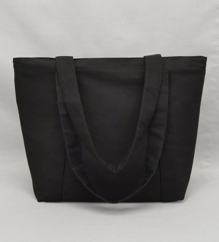 cedbcc99ac Black Zippered Tote Bag