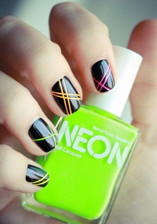 Uñas de neon sencillas ~ Simple Neon nails | peinados uñas etc ...