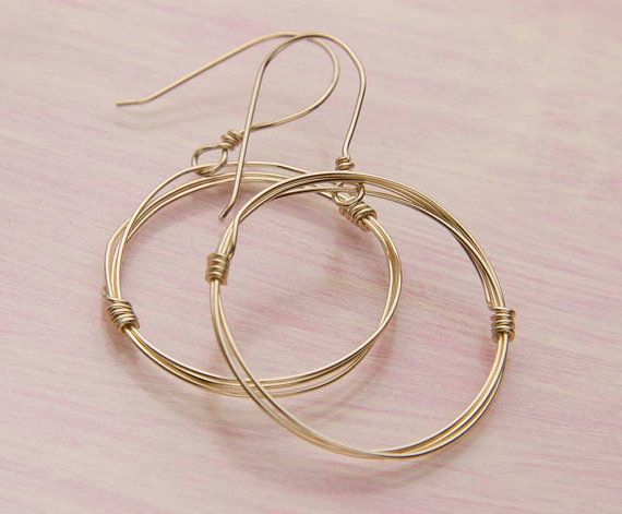 Hoop Earrings Gold Wire Wred Hoops Unique Style By Jularee 38 00