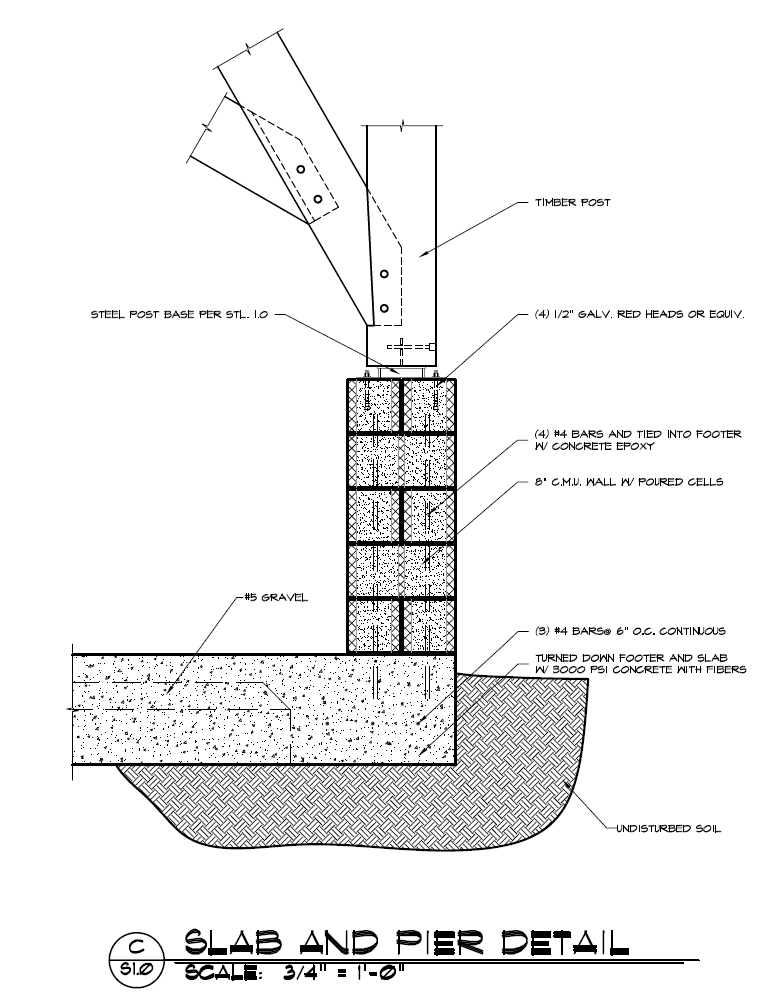 Timber Frame Post to CMU Pier Construction Detail   Architectural ...