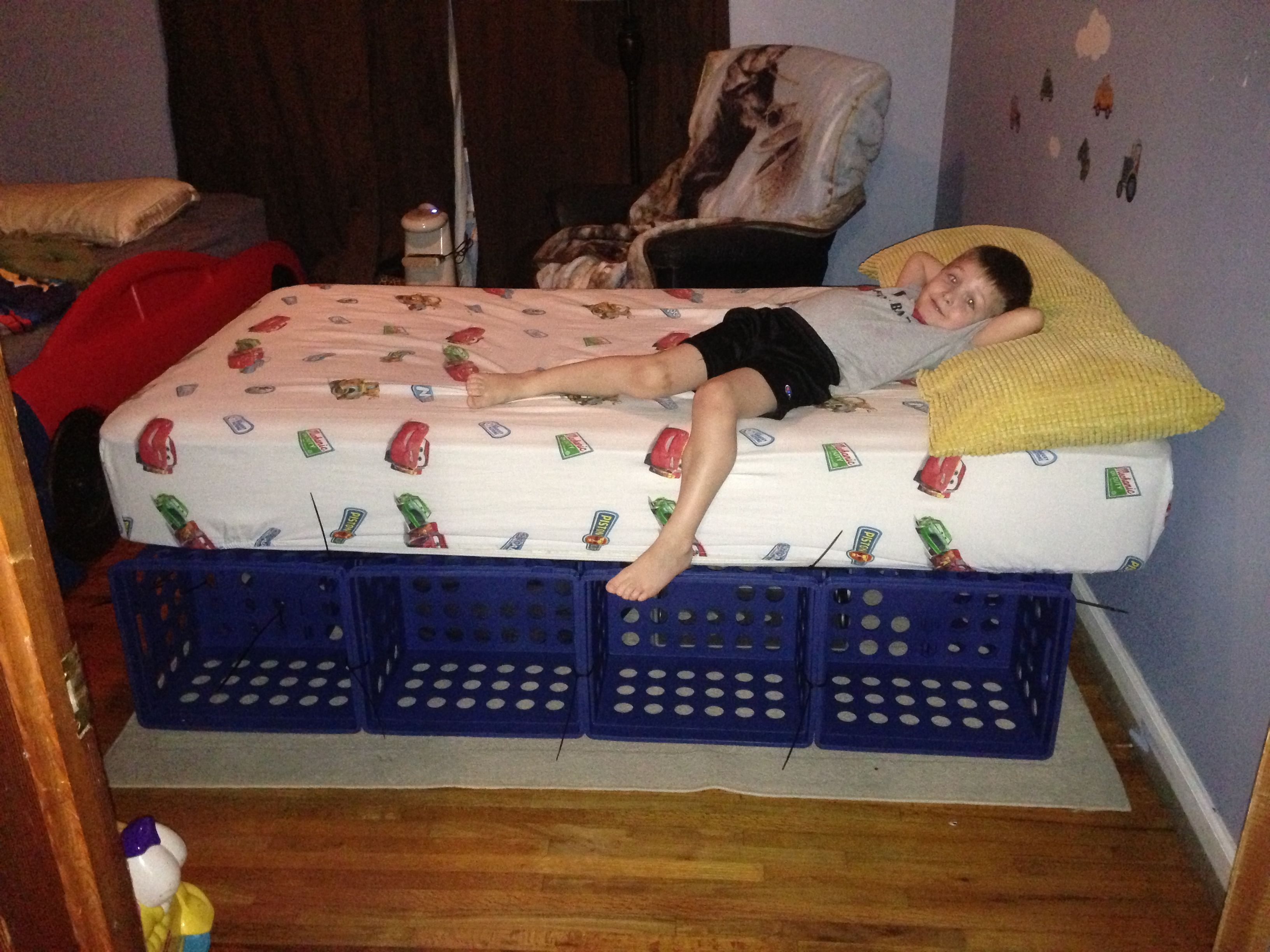 Diy Crate Bed Crates Zip Ties Mattress Voila Boys