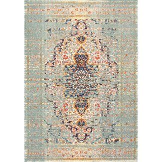 Bungalow Rose Estrel Blue Area Rug Floral Rug Area Rugs Grey Rugs