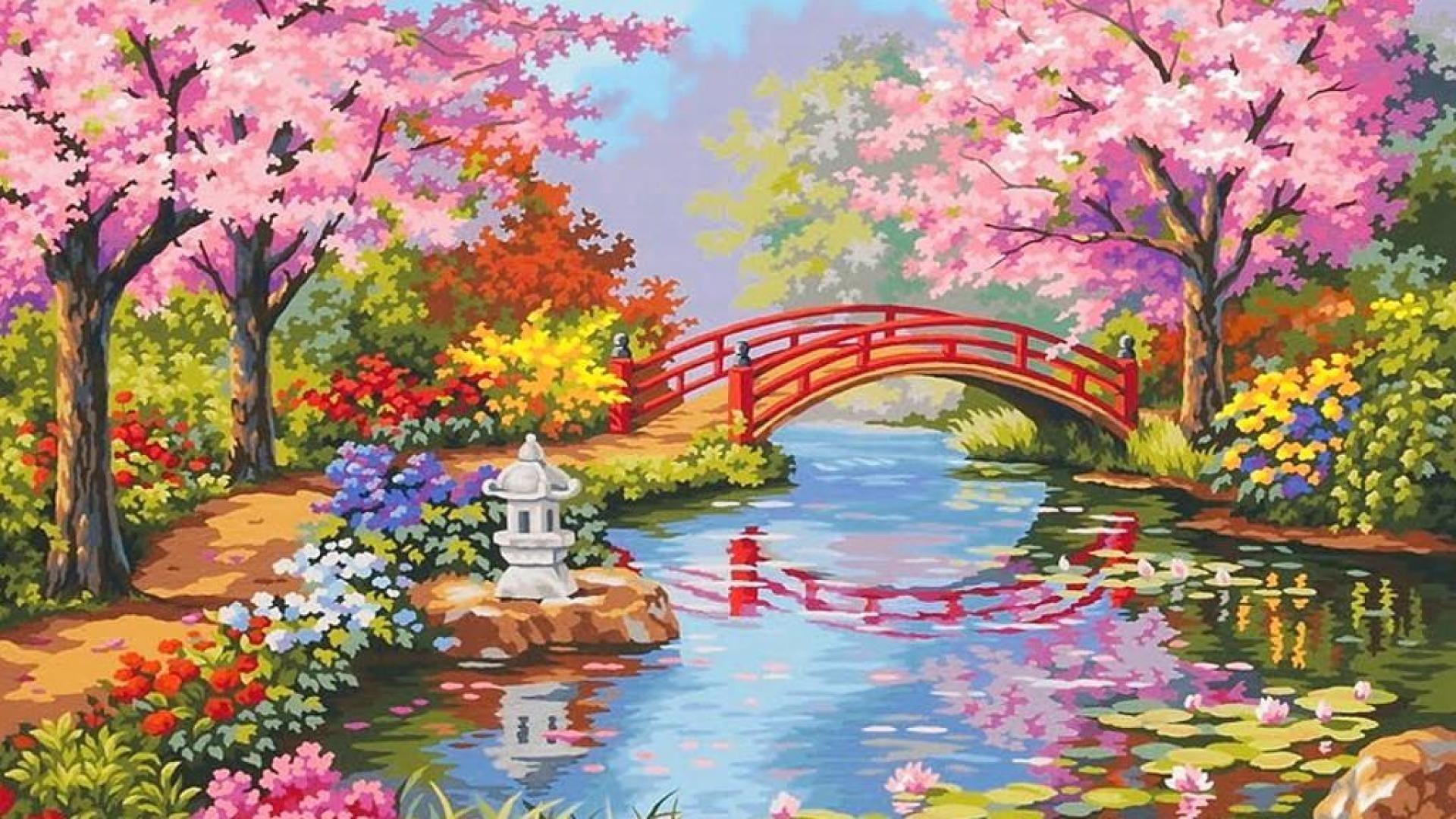 Beautiful Flower Garden Paintings Flower Garden Wallpapers