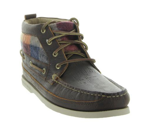 Authentic Original Boat Chukka Plaid in Dark Tan by Sperry Tod Sider