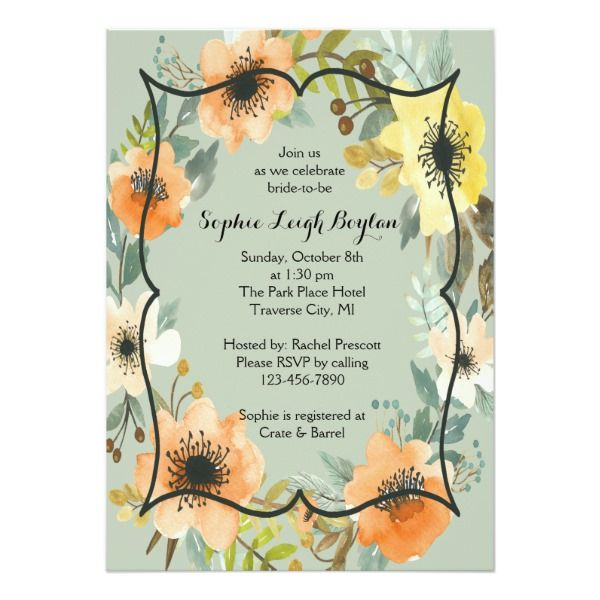 Autumn Floral Bridal Shower Invitation
