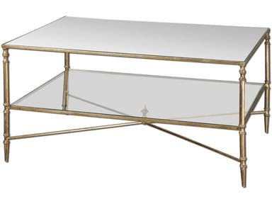 Finished In Gold Leaf With Heavy Antiquing On Iron Frame And Cross Stretchers Top Transitional Coffee Tablesgold