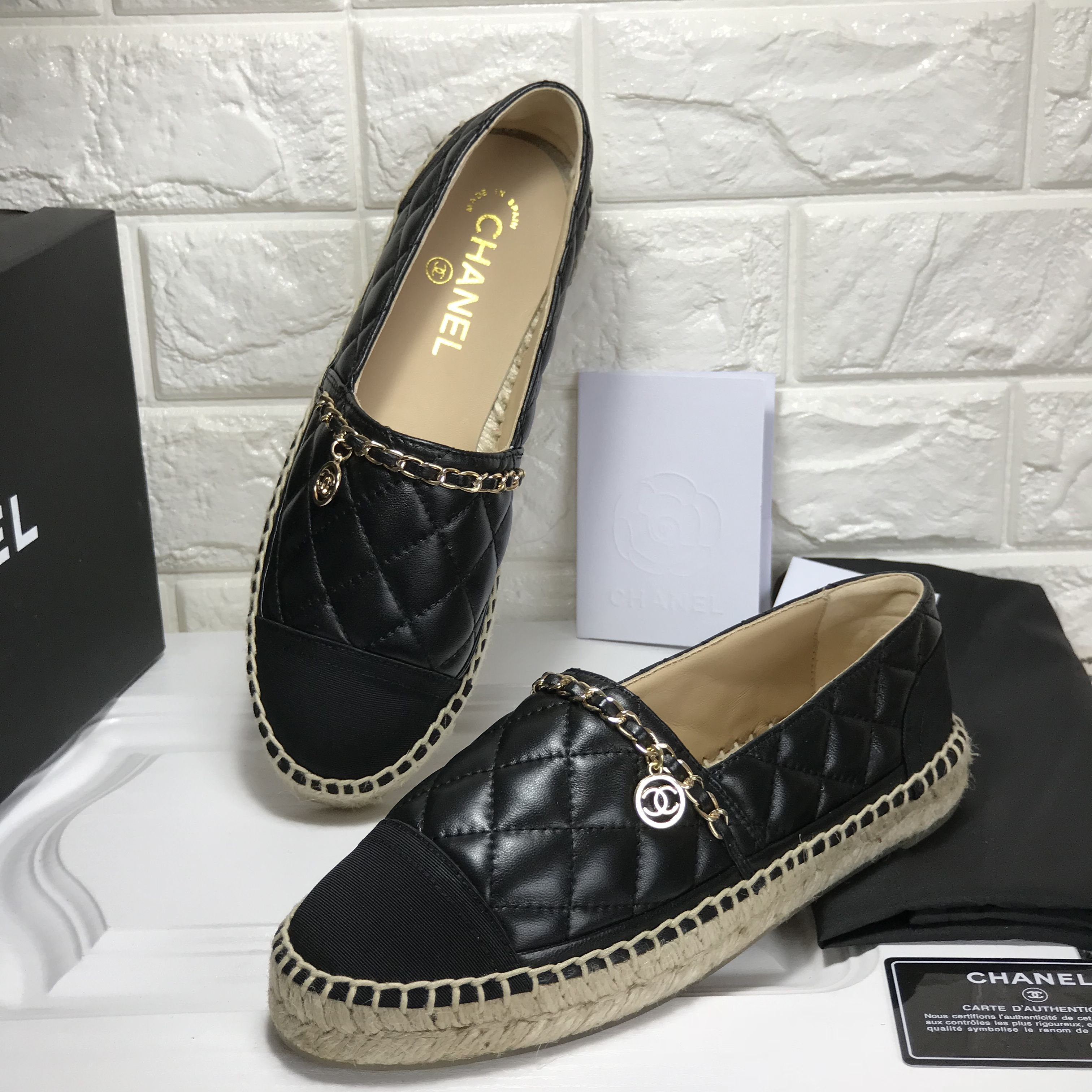 b8b095c9885 Chanel quilted leather espadrilles