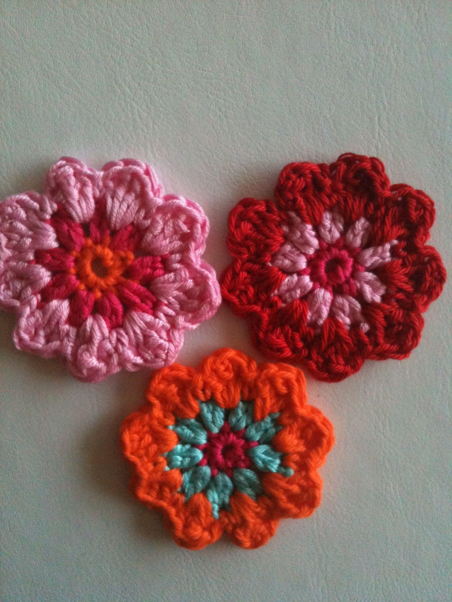 Twee of driekleurige bloemetjes haken | hekel | Pinterest